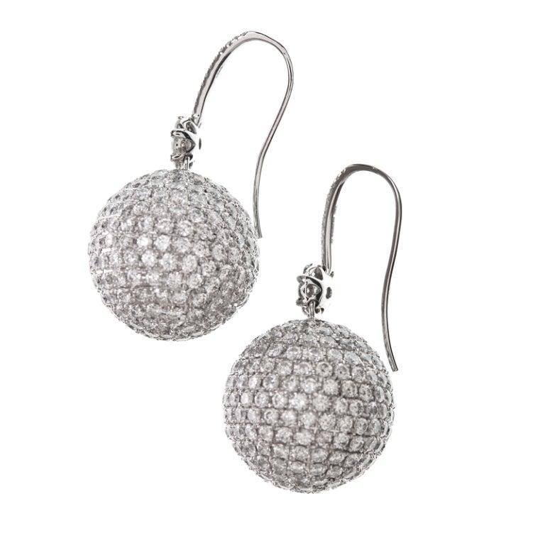 "Extra Fine Diamond ""Disco Ball"" Platinum Earrings 2"