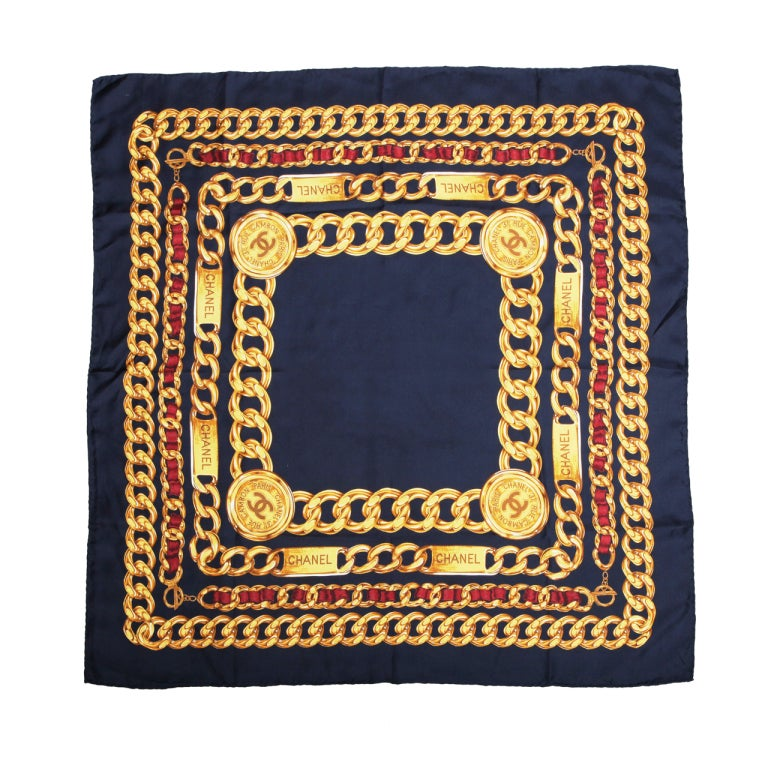 CHANEL ICONIC CHAIN MOTIF SCARF NAVY 1