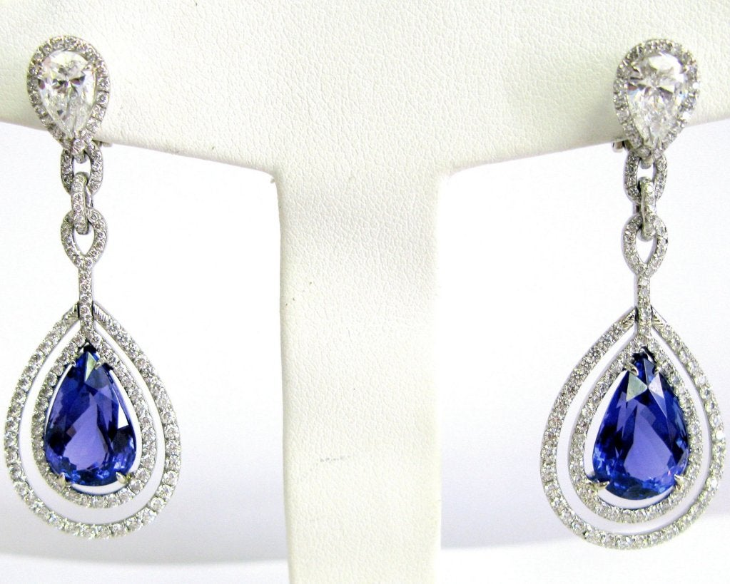 Exquisitely Crafted In Platinum And Diamonds These Double Frame Tanzanite Earrings Feature Two Pear Shape