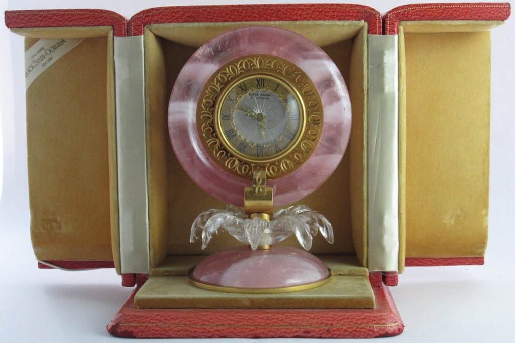 BLACK STARR & GORHAM Art Deco Pink Quartz and Rock Crystal Table Clock In Excellent Condition In Firenze, IT