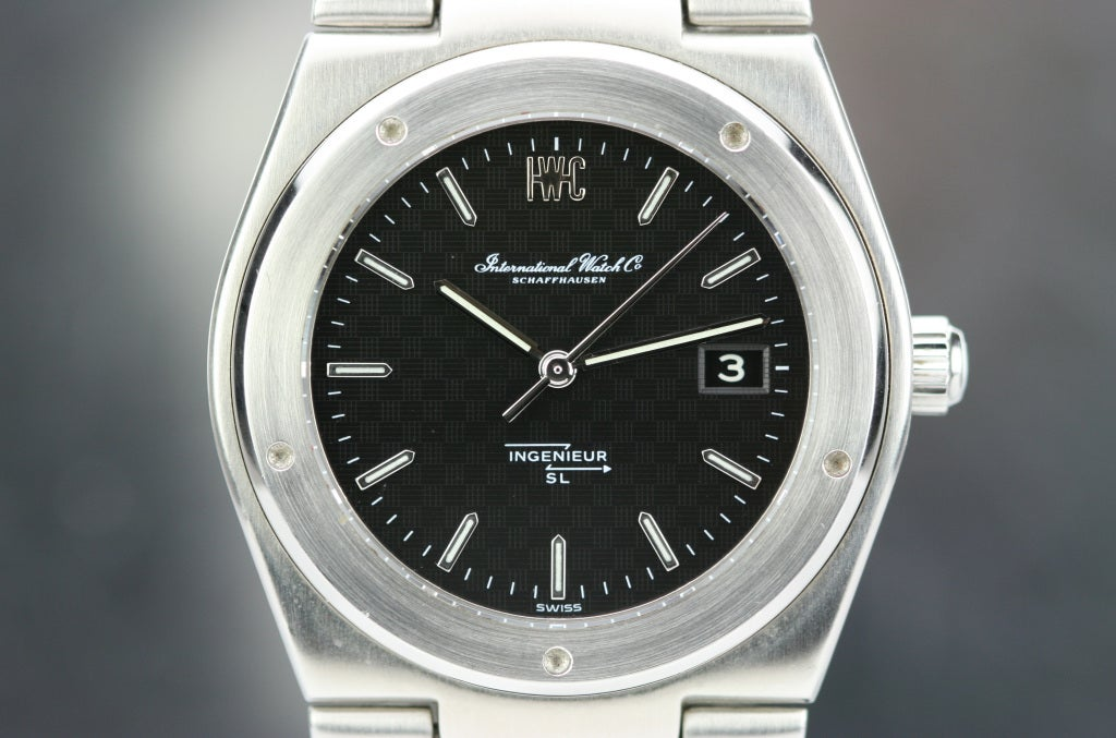 This is a great example of IWC's Ingenieur SL model number 1832 from the 1970s. This is an automatic watch that was designed by the famous watch designer Gerald Genta. The watch is powered by IWC's caliber 8541ES which contains special amagnetic