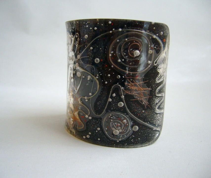 Modernist Zahara Schatz Laminated Acrylic Cuff Bracelet For Sale