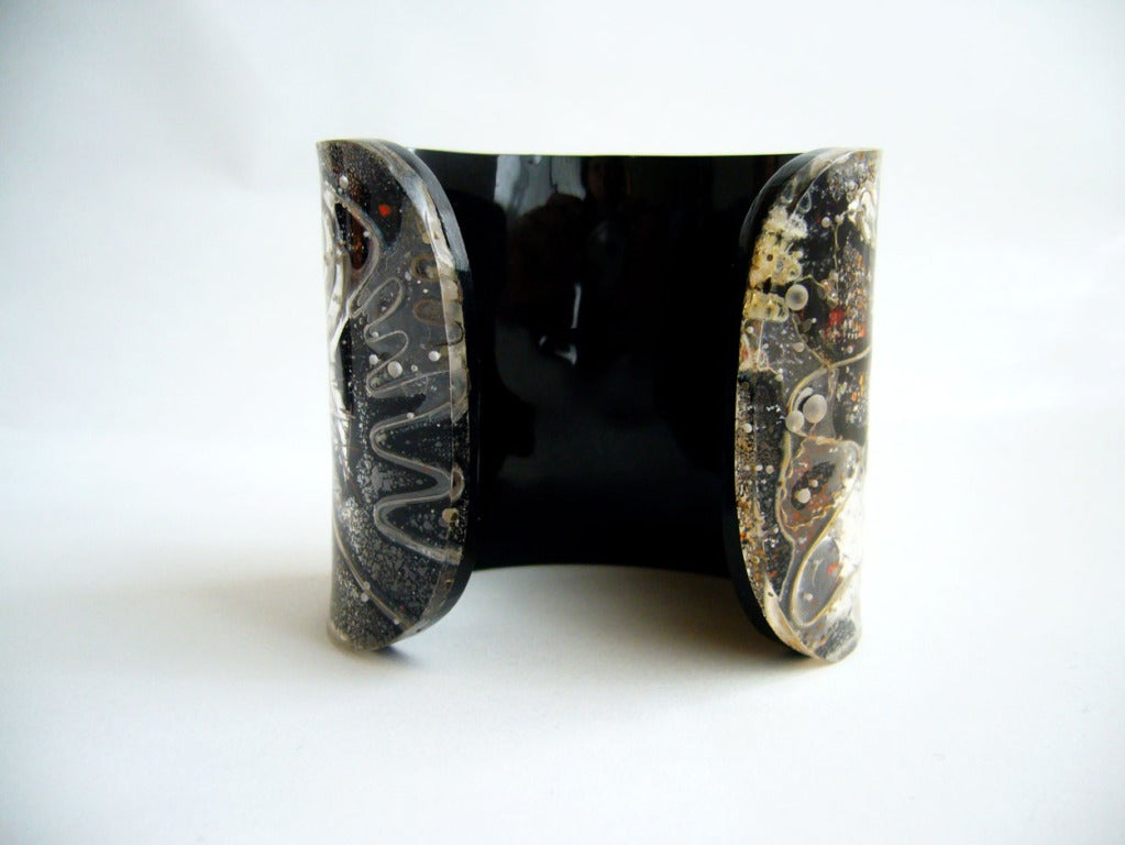 Zahara Schatz Laminated Acrylic Cuff Bracelet In Excellent Condition For Sale In Los Angeles, CA