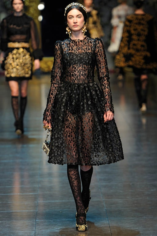 16 400 New Dolce And Gabbana Black Floral Appliqu 233 Lace