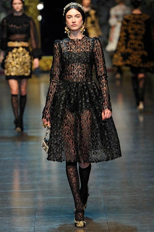 $16,400 New DOLCE & GABBANA Black Floral Appliqué Lace Dress 2