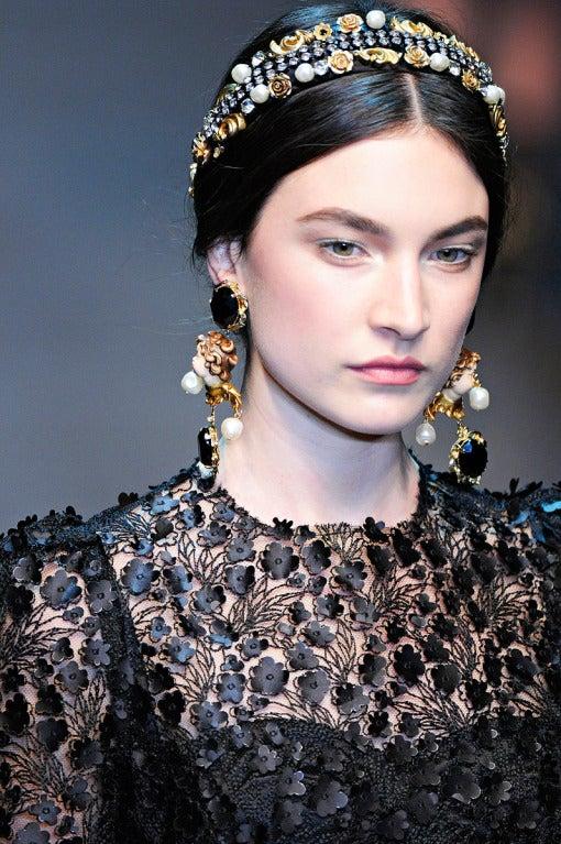 $16,400 New DOLCE & GABBANA Black Floral Appliqué Lace Dress 3
