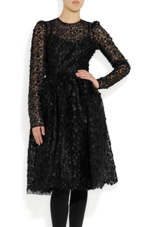 $16,400 New DOLCE & GABBANA Black Floral Appliqué Lace Dress 4