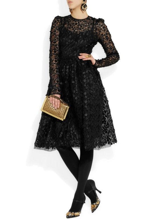 $16,400 New DOLCE & GABBANA Black Floral Appliqué Lace Dress 6