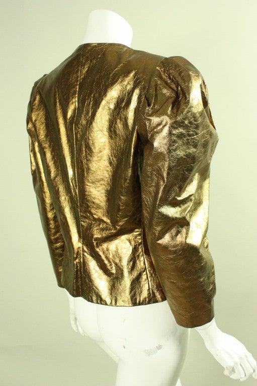 Brown Bill Blass Metallic Leather Jacket, 1980s  For Sale