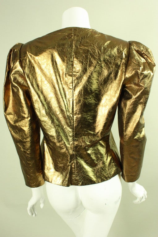 Bill Blass Metallic Leather Jacket, 1980s  In Excellent Condition For Sale In Los Angeles, CA