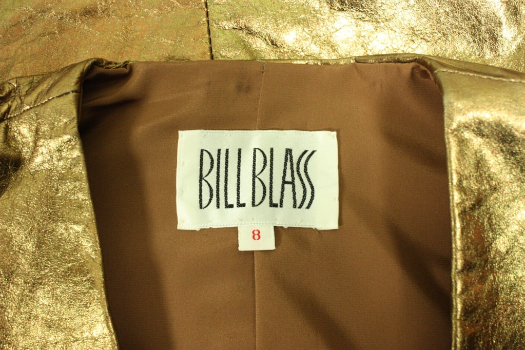 Bill Blass Metallic Leather Jacket, 1980s  For Sale 2