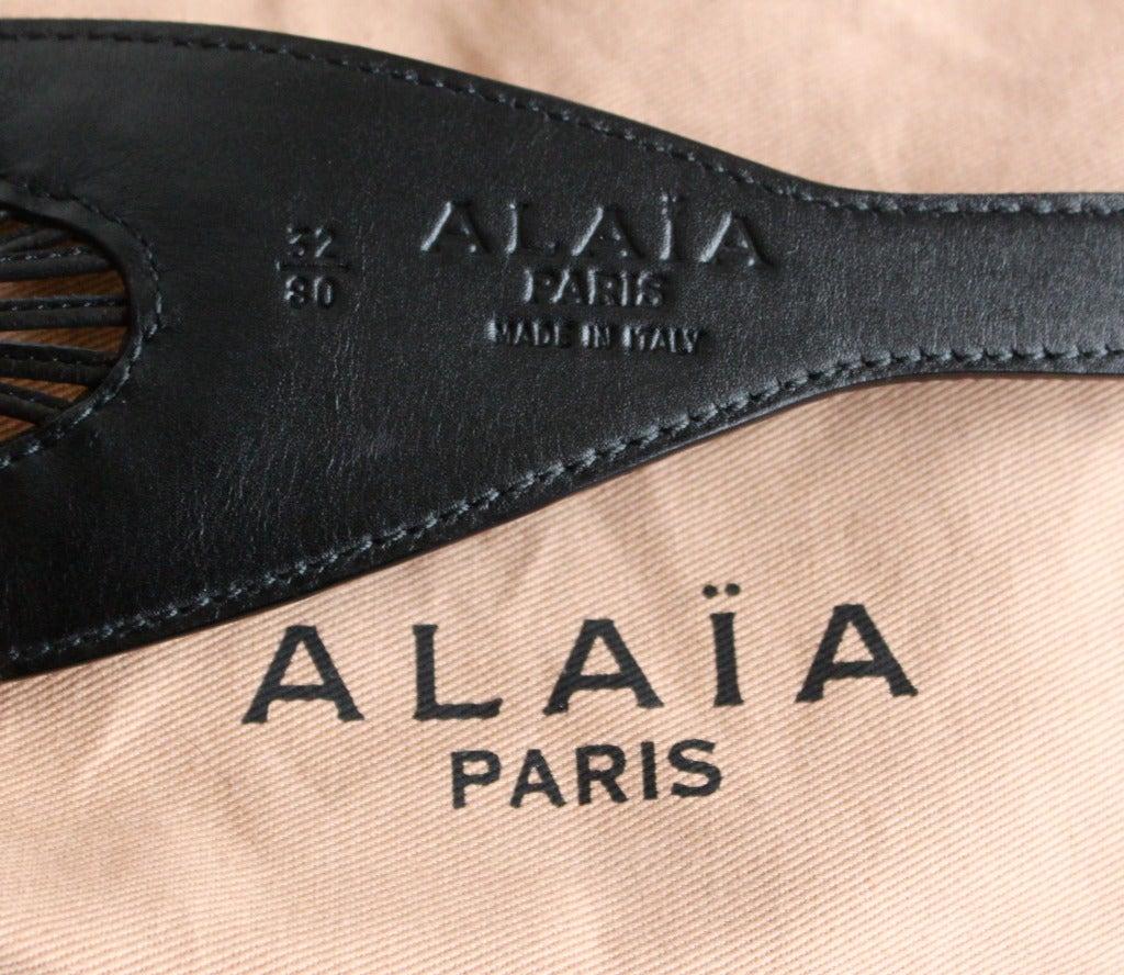 AZZEDINE ALAIA black lambskin belt with decorative lacing 3