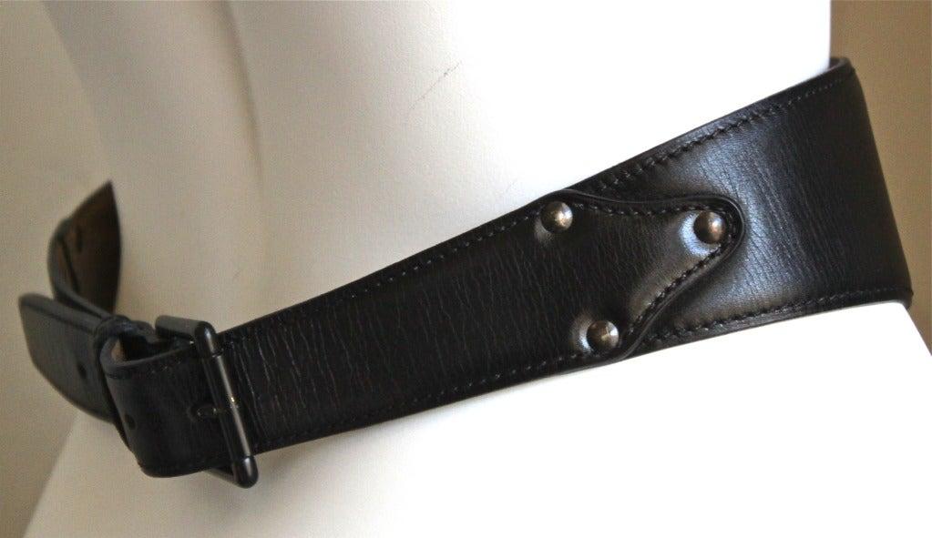 1990's AZZEDINE ALAIA black leather lace up corset belt 2