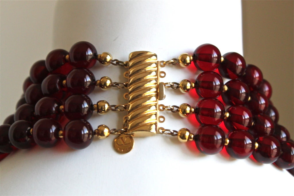1980's VALENTINO oversized graduated necklace with ruby faceted beads 2