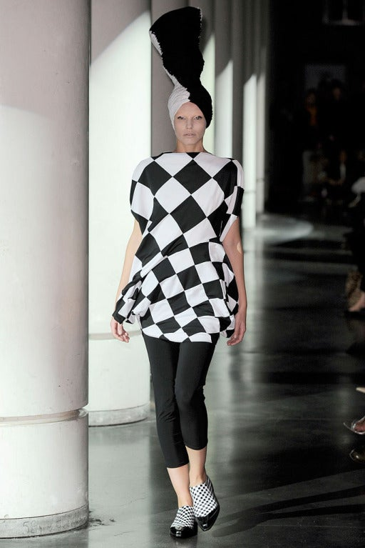 JUNYA WATANABE COMME DES GARCONS checkered and draped runway dress 7