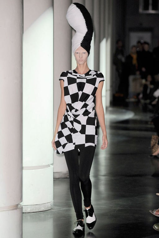 JUNYA WATANABE COMME DES GARCONS checkered and draped runway dress 8