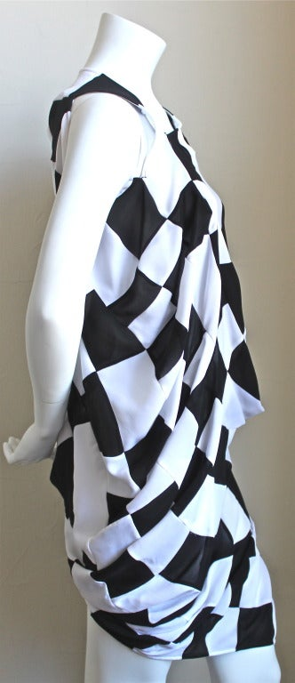 Black JUNYA WATANABE COMME DES GARCONS checkered and draped runway dress For Sale