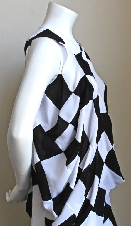 JUNYA WATANABE COMME DES GARCONS checkered and draped runway dress In New never worn Condition For Sale In San Francisco, CA