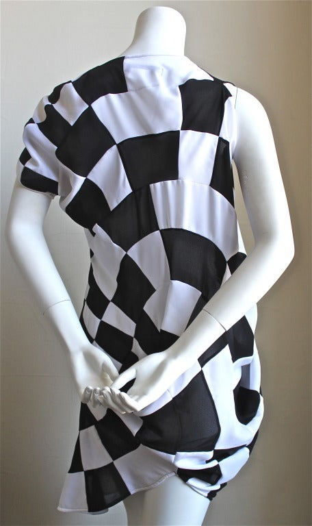 JUNYA WATANABE COMME DES GARCONS checkered and draped runway dress 5