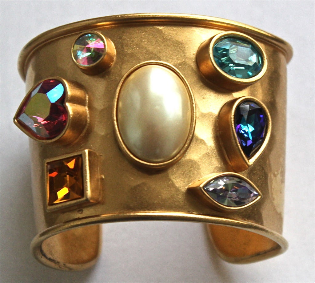 1980's YVES SAINT LAURENT heavy hammered gilt cuff with colorful faceted stones 2
