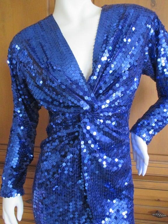 Oleg Cassini 70's Disco Era Sequin Knot Dress at 1stdibs