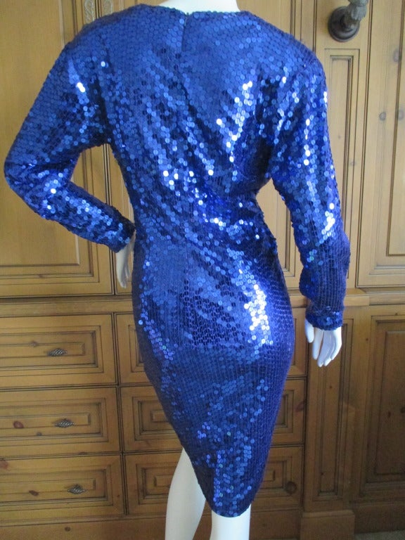 Oleg Cassini 70's Disco Era Sequin Knot Dress at 1stdibs