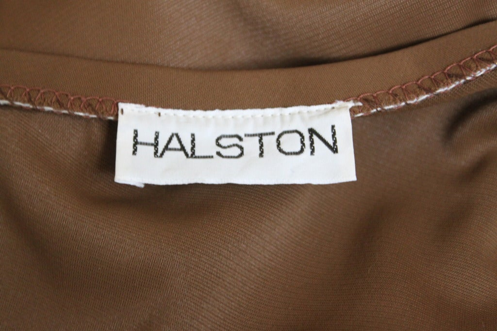 Women's 1976 HALSTON cocoa jersey spiral cut strapless gown For Sale