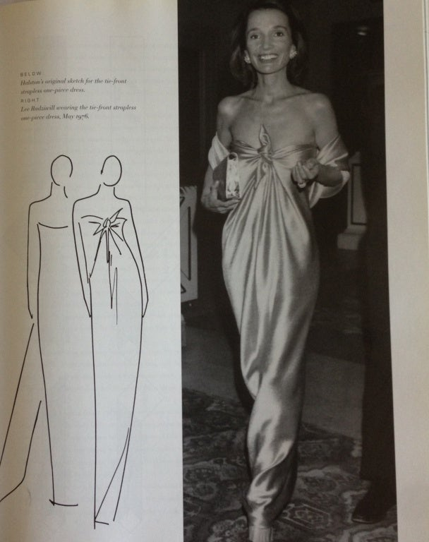 1976 HALSTON cocoa jersey spiral cut strapless gown For Sale 1