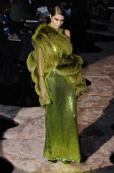 F/W 2004  TOM FORD for GUCCI GREEN SEQUINNED GOWN