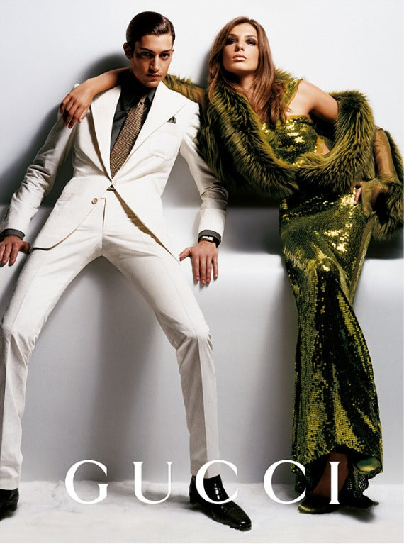Green F/W 2004  TOM FORD for GUCCI GREEN SEQUINNED GOWN For Sale