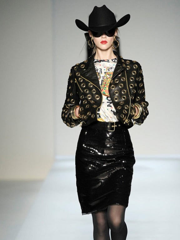 Moschino Grommets Black And Gold Leather Motorcycle Jacket