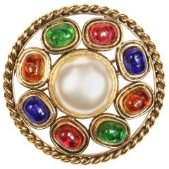 Chanel Colorful Poured Glass Brooch