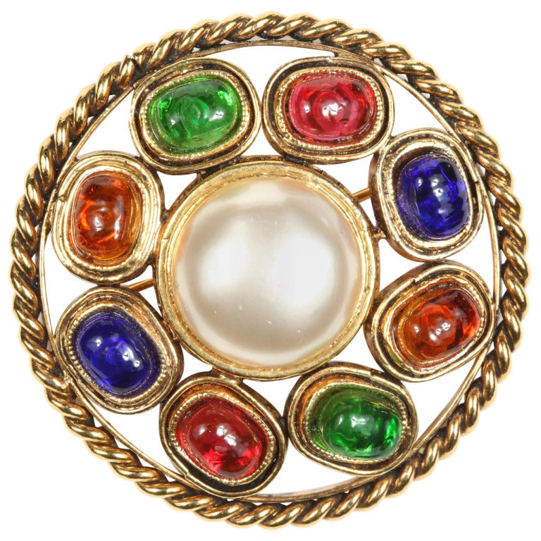 Chanel Colorful Poured Glass Brooch For Sale
