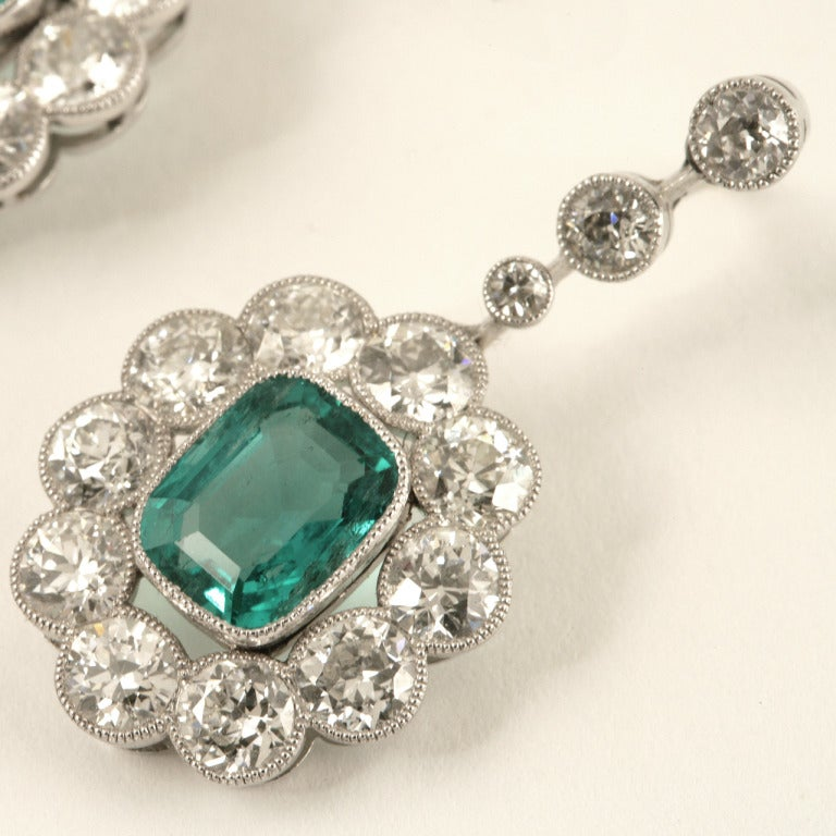 Edwardian Emerald Diamond Platinum Cluster Ear Pendants 2