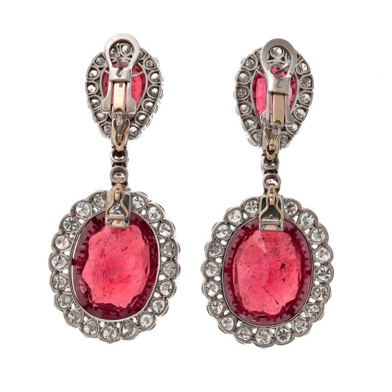 Ruby Diamond Platinum Modular Design Earrings 2