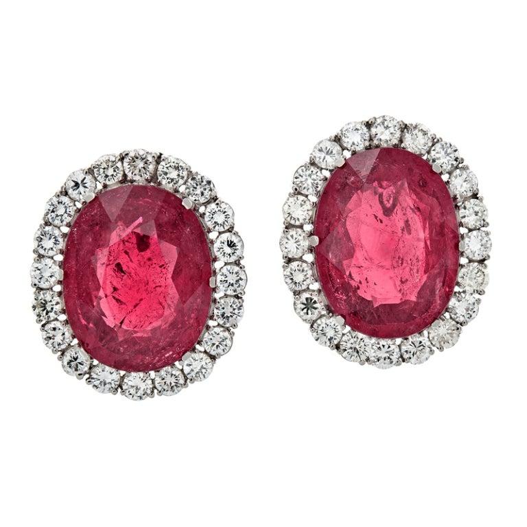 Ruby Diamond Platinum Modular Design Earrings 4