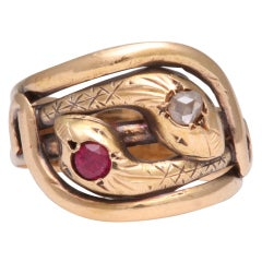 Antique Victorian Diamond Ruby Gold Double-Snake Ring