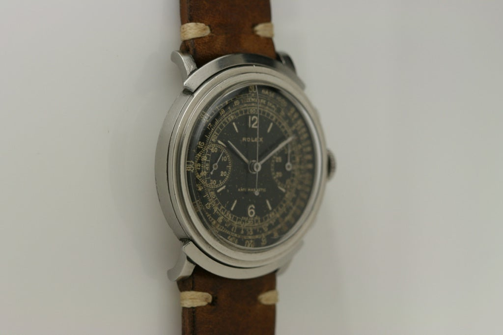 Men's Rolex Rare Stainless Steel Chronograph Wristwatch Ref 2916 For Sale
