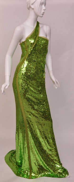 F/W 2004  TOM FORD for GUCCI GREEN SEQUINNED GOWN In Good Condition For Sale In Montgomery, TX