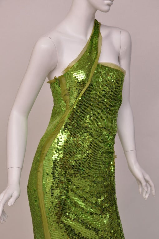 Women's F/W 2004  TOM FORD for GUCCI GREEN SEQUINNED GOWN For Sale