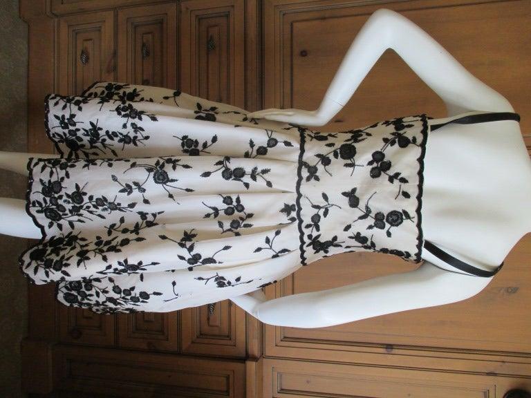 Oscar de la Renta Black and White Floral Beaded Dress 5