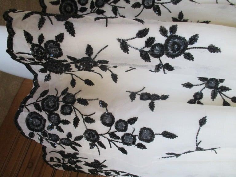 Oscar de la Renta Black and White Floral Beaded Dress 7