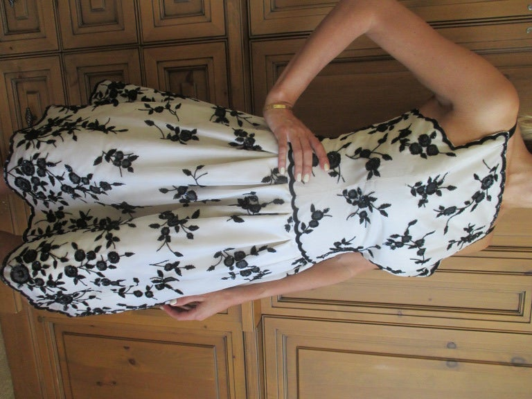Oscar de la Renta Black and White Floral Beaded Dress 10