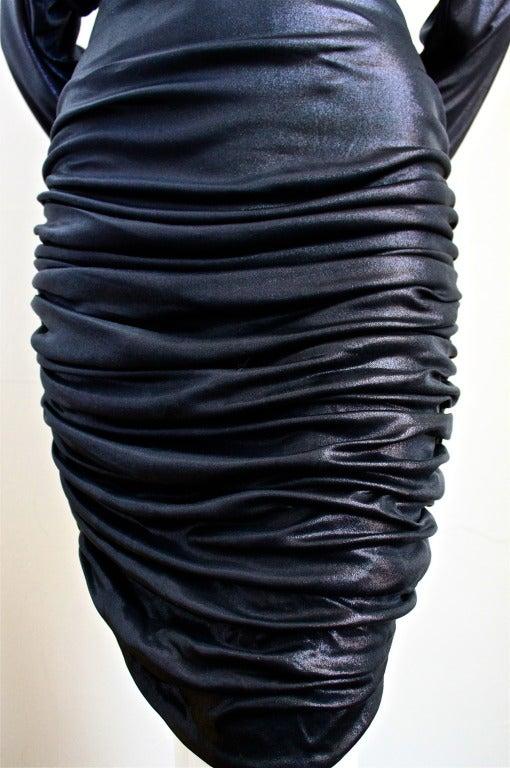 1980's PATRICK KELLY slinky black ruched dress 3