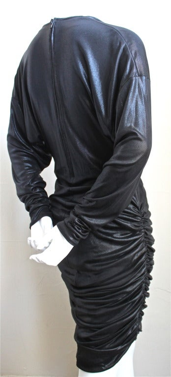 1980's PATRICK KELLY slinky black ruched dress In Excellent Condition For Sale In San Francisco, CA