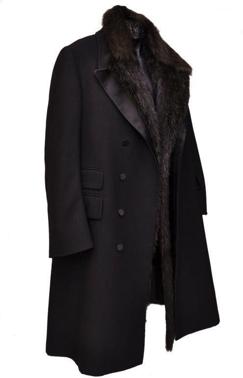 Tom Ford For Gucci Men S Black Tuxedo Beaver Fur Coat At