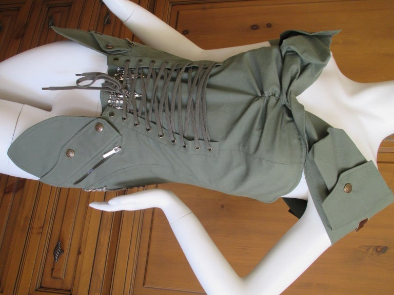 Dior by Galliano  Jeweled Corset Lace Military Bustier 2