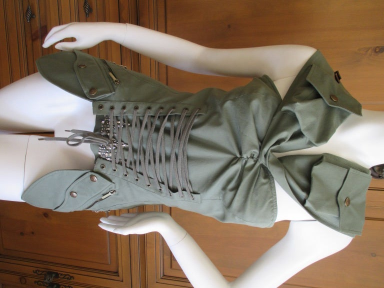 Dior by Galliano  Jeweled Corset Lace Military Bustier 7