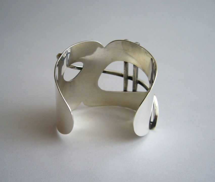 Women's Henry Steig New York Modernist Studio Sterling Silver Bracelet For Sale