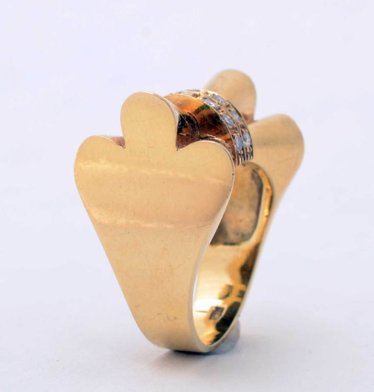 Retro Gold and Diamonds Bow Ring For Sale 1